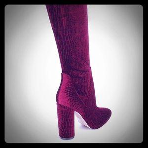 Red Tenesha Velvet Over The Knee Boots